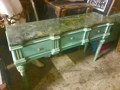 Vintage French Shabby Chic Green Painted 3 Drawer Marble Top Cabinet /Hall Table