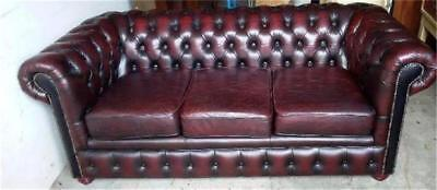Vintage Dark Burgundy Leather 3 Seater Buttoned Chesterfield Sofa On Bun Feet