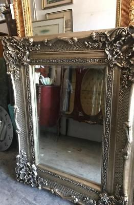Silver Rococo  Carved French Louis Bevelled Mirror Huge 3 Day Mirror Sale..