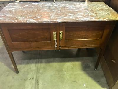 Antique Edwardian 2 Door Cedar Washstand / Cabinet With A Marble Top And Castors