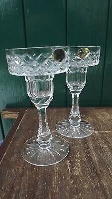 Tyrone Crystal Pair of tall stemmed Candlesticks Labels attach Super cut crystal