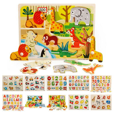 Kids Baby Wooden Wood Animal Puzzle Number Alphabet Learning Educational T VBX