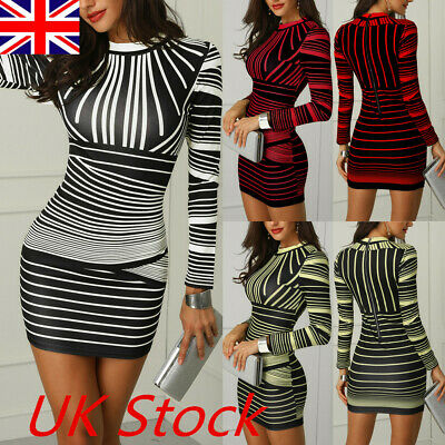 UK Womens Bodycon Dress Long Sleeve Party Cocktail Evening Club Mini Short Dress
