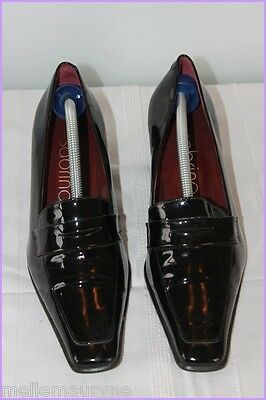 Court shoes SABRINA Black Patent Leather Tips Square T 41 TOP CONDITION