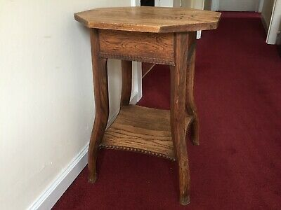 Antique Vintage Solid Oak Octagonal Top Side Table