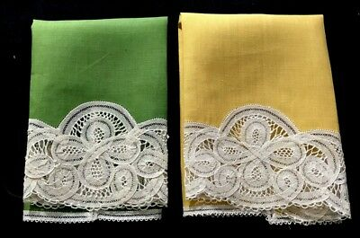 Two Adorable Early Vintage Linen Guest Towels Battenberg Lace Decorated 16 1/