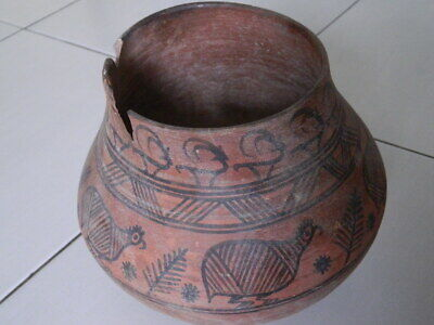 Ancient Huge Size Teracotta Painted Pot With Birds Indus Valley 2500 BC #Ik506