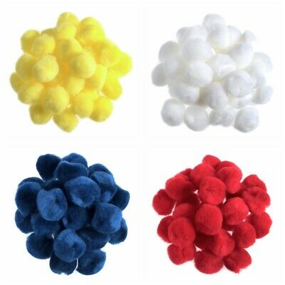 "1"" Pom Poms - 20 per bag  - Yellow - White - Red - Blue - Easter Crafts - 2.5cm"
