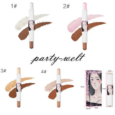 HUAMIANLI  Double-Head Beauty Shimmer Concealer Makeup Highlight Contour Stick