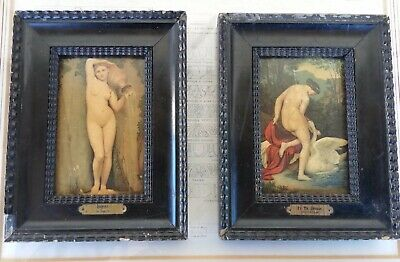 Rare Pair French Antique end 19th Century miniature painting Engraving copper