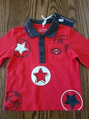 Mitch & Son Football Star Collection Pele Polo Shirt Red Boys 18 months, BNWT