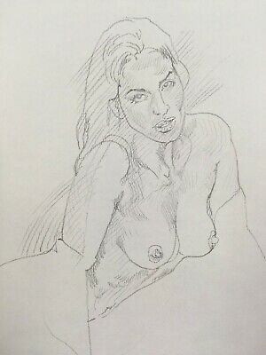 Nude Lady in Bedsheet.Original Drawing of Pretty Long-Haired Woman,Naked In Bed.