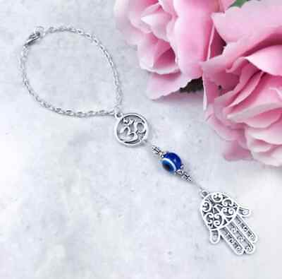 Hamsa Hand Car Charm, Evil Eye, Om, Rearview Mirror, Hanging Ornament, Yoga