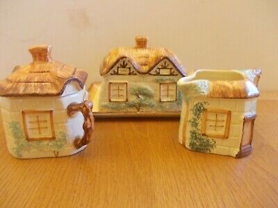 Keele St. Pottery.co Hand painted cottage ware milk jug suggar bowl butter dish.