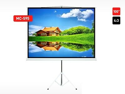 """Projector Projection Stand Screen Home Cinema HD TV Portable Stand 100"""" UK Stock"""