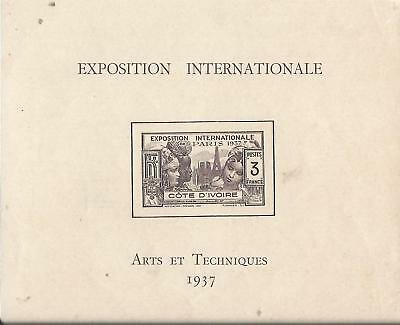 1937-COTE D'IVOIRE EXPOSITION INTERNATIONALE  GOMME D'ORIGINE Neuf**