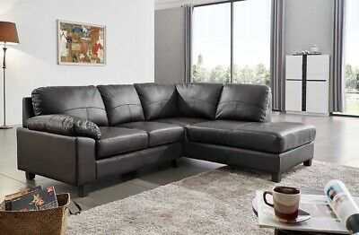 SERENITY NEW MODERN Black Real Leather Corner Sofa With Chaise Black Cheap  Sale