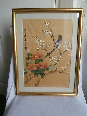 Original Chinese Painting On Gold Silk Floral Blossoms & Magpie Painting Signed