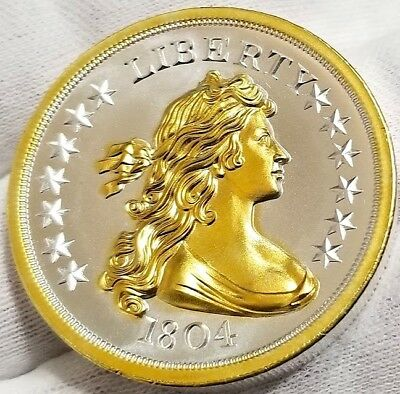 1804 Silver Dollar , 2 oz  .999 pure Silver Coin ,  24k Gold Gilded  T