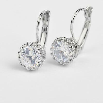 925 Sterling Silver Round Cubic Zirconia Rhinestone Hoop Drop Earrings Vintage