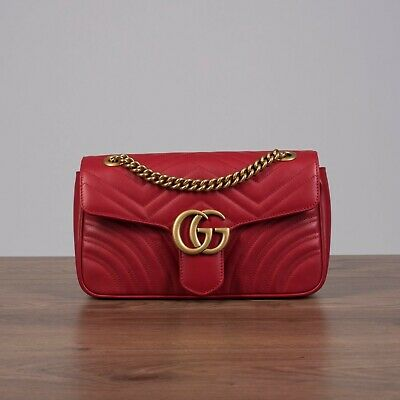 904bdbccca4 GUCCI 1980  SMALL GG Marmont Matelasse Shoulder Bag In Red Leather -   1
