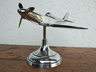 Avion Spitfire en aluminium poli sur socle déco de bureau collection