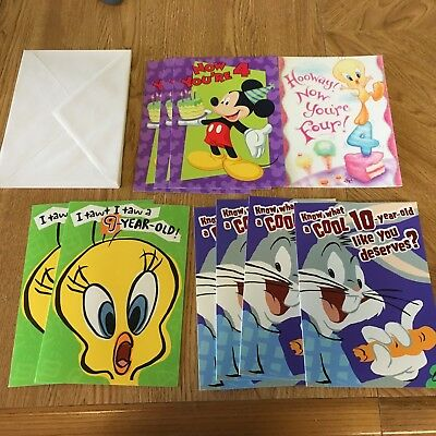 10 Looney Tunes Mickey Mouse Birthday Cards 4 9 Year Old