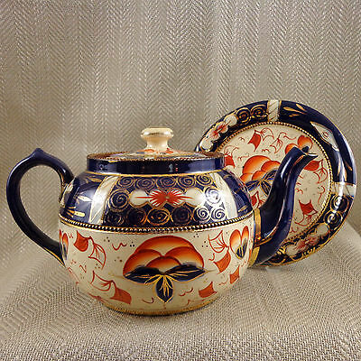 Antique Teapot Hand Painted Welsh Gaudy Imari Pottery Trivet Stand