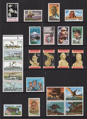 US 1989 NH Commemorative Year 2347 2401-18 2420-29 2434-37 - 33v - Free USA Ship