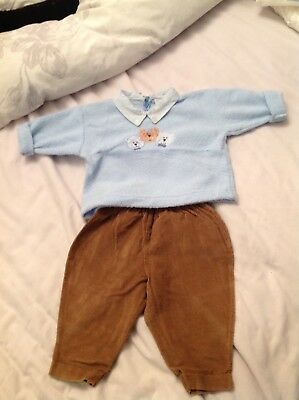 Belart Baby Boys Designer Outfit Age 3 Months Brown Trousers And Blue Jumper