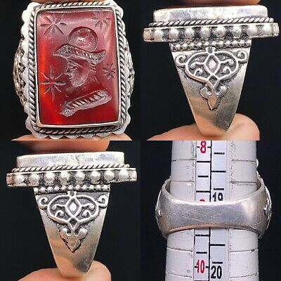 Old Silver Antique Agate King Seal Intaglio wonderful Stone Ring