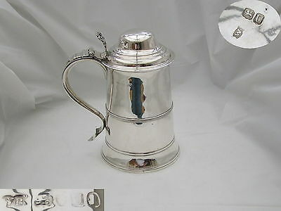Rare George Iii Hm Sterling Silver Lidded Tankard 1815