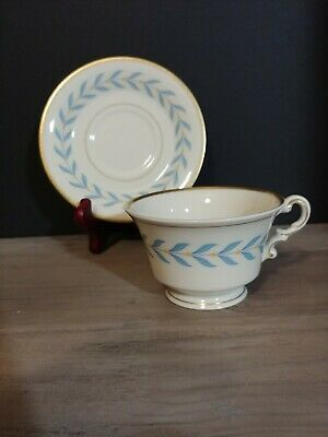 OLD IVORY Syracuse China SHERWOOD 2pc Blue Laurel Tea Cup & Saucer Set