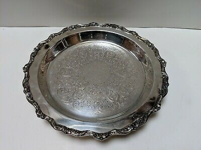 "Poole Silver Co. ""Old English Silver Plate""  12"" Circular Footed Tray 5017 GOOD"