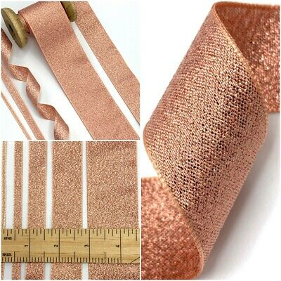Rose Gold Metallic Lame Ribbon - Sparkle Trim 3/7/15/25/40mm - Wedding Christmas