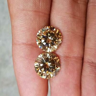 Pair (2Pcs) Loose Moissanite 1.58 Ct Brown 6.05 mm Round Excellent SI1 4 Ring