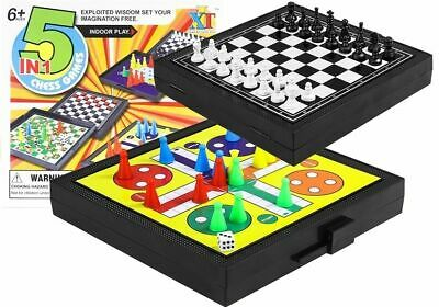 5 IN 1 Games Set Ludo Chess Draughts Snakes Ladders Kids Game Party Fun Birthday