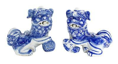 Vintage Pair Of Chinese Porcelain Hand Painted Foo Dogs Statues Figures