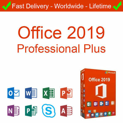 Fit for 1PC GENUINE MS OFFICE 2019 PROPLUS 32/64bit LIFE KEY + DOWNLOAD LINK