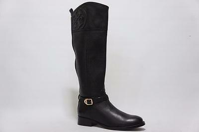 fd669b30e3a5 TORY BURCH BLACK Marlene Tall Leather Logo Riding Boots Size 10.5 ...