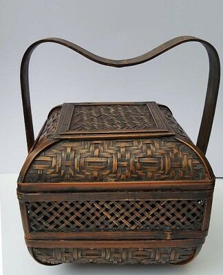 Chinese antique weaved stacking basket
