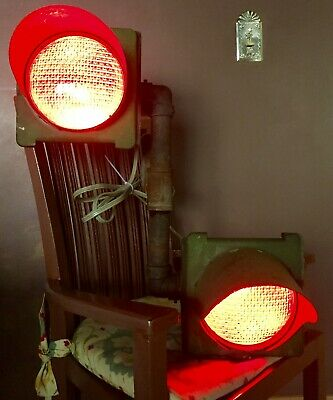 1940/50's CROUSE-HINDS Dual-Red Lamp Street Traffic Light - Railroad Xing? CLEAN