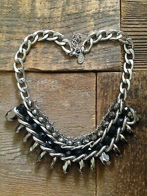 Vintage gothic rock chic silver black multi layered chain beaded stone necklace