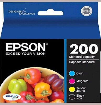 4-PACK GENUINE Epson 200 Black & Color Ink (NO RETAIL BOX) for EXPRESSION XP-400