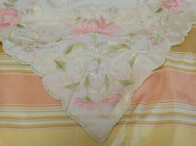Antique Chinese Canton Silk Embroidered Floral Handkerchief Hankie