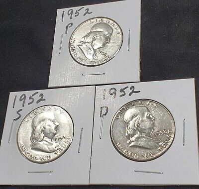 50c Cent 1/2 Half Dollar 1952 P D S Ben Franklin Silver 3 US Silver Coin Lot