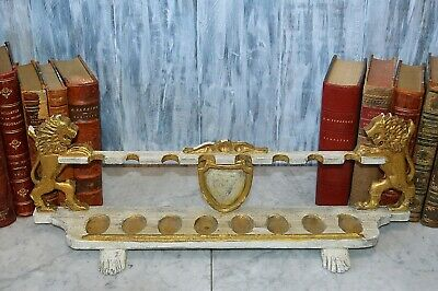 Antique Large French Carved Wood 8 Pipe Stand Rampant Lions Shield Crest Gilded