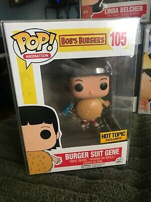 Funko Pop Bobs Burgers Hot Topic Burger Suit Gene Exclusive W/Protector RARE!