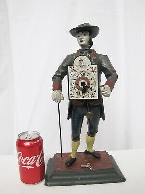 German Black Forest Cast Iron Clock Peddler Man Mechanical Clock,