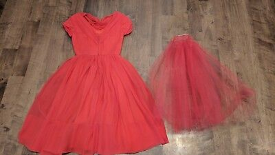 Vintage AFL CIO intl workers union ILGWU Red Chiffon flowy dress tulle Size 0-2